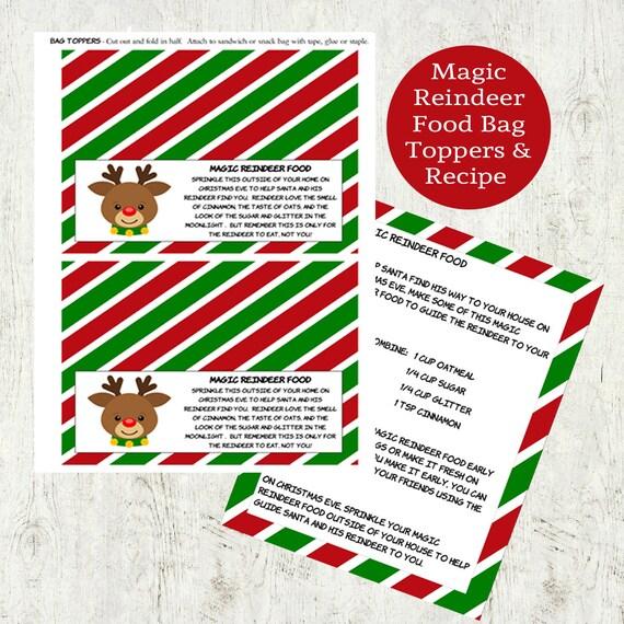 Items Similar To Printable Christmas Magical Reindeer Food