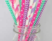 Hot Pink, Lilac, Purple, and Aqua Straws Mixed (Pack of 25 or 50 Paper Straws) **Weddings, Parties, Showers, Gifts**