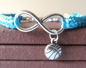Love Basketball Athletic Charm Infinity Bracelet Basketball Charm You Choose Your Cord Color(s) Optional Hand Stamped Number Charm
