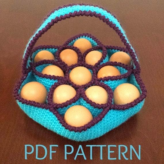 Crochet Egg Basket : Crochet Pattern for Bakers Dozen Egg Basket Egg by KnotJustAnyBag
