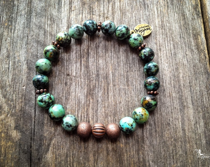 Intentions Bracelet stone yoga Chakra Turquoise Creativity communication Mala boho inspired jewelry by Creatins Mariposa BI-TA