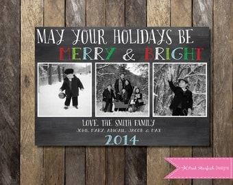 Christmas Card, Holiday Card, Photo Christmas Card, Chalkboard Christmas Card, Chalkboard, Chalkboard Holiday Christmas Card, Red Green