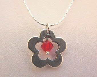 Sterling 925 Silver Necklace with Flower Pendant and Red Swarovski Bead