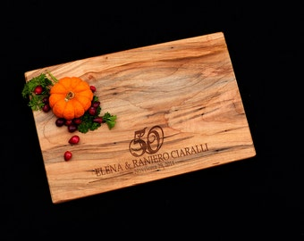Personalized Cutting Board Spalted Maple 50th Wedding Anniversary Gift 25th Wedding Anniversary Gift 5th Wedding Anniversary Gift