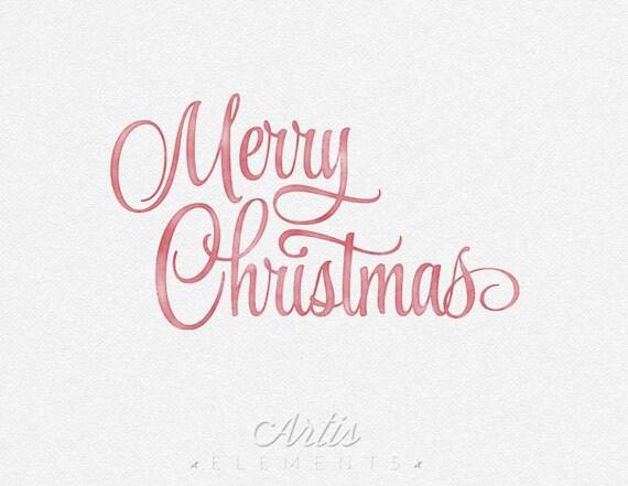 Merry Christmas Script Clipart Watercolor Inkwash