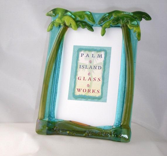 fused glass palm tree picture frame aqua