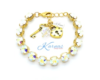 CRYSTAL AB 8mm Crystal Chaton Bracelet Made With Swarovski Elements *Pick Your Metal *Karnas Design Studio *Free Shipping*