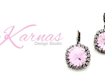 LIGHT AMETHYST 12mm Crystal Rivoli Halo Drop Earrings Made With Swarovski Elements *Antique Silver *Karnas Design Studio *Free Shipping*