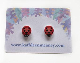 Ladybird stud animal earrings