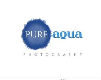 Blue logo design, watercolor photography logo, watermark, business logo branding