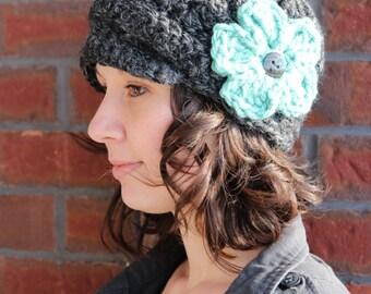 Newsboy Hat, Hat with Brim, Flower Newsboy Hat, Flower Cap, Crochet Brim Hat, Newsboy Cap, Women's Newsboy Hat, Youth Newsboy Hat