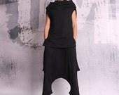 Black tunic, sleeveless top, black top, asymmetric top, loose top, long tunic, tunic top - UM-053-QC