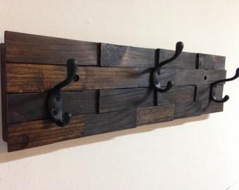 Rustic wood coat rack, wall mount with 3 coat hooks, entryway organizer, towel rack