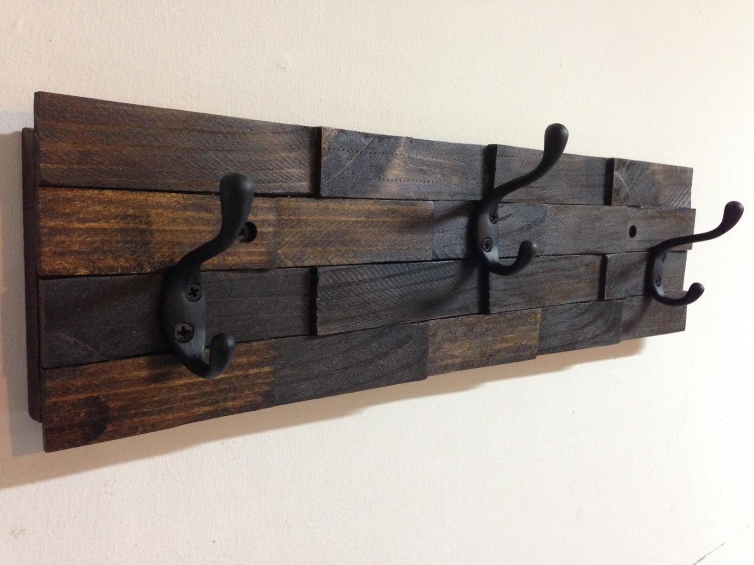 Rustic Wood Coat Rack Wall Mount With 3 Coat Hooks Entryway