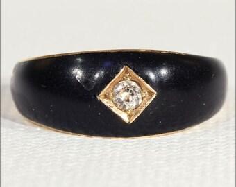 Antique Victorian Diamond and Black Enamel Ring