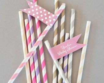 Girl Baby Shower Straws - Baby Shower Straws Flags Personalized Straw Flags Labels Custom Its a Girl Its a Boy Stickers (EB2351) set of 20|