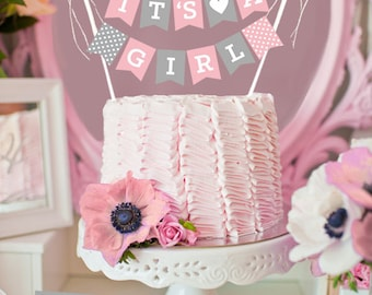 Girl Baby Shower Cake Topper - Baby Shower Cake Decorations - Baby Shower Cake Bunting Its A Girl Cake Topper (EB3083P) CAKE Banner ONLY