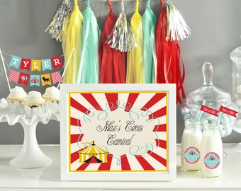 Boys First Birthday Party Carnival Party Decorations - Circus Birthday Decor Carnival Centerpiece Sign - Carnival Signs (EB3003CC) SIGN ONLY
