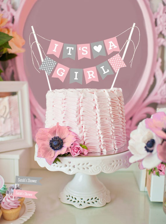 Cake Decorating Baby Shower Girl : Girl Baby Shower Cake Topper Baby Shower Cake Decorations