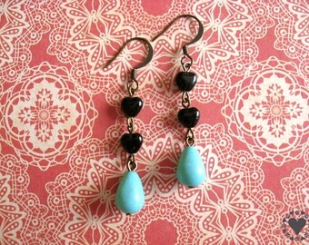 Rigby - antiqued brass finish earrings, black glass hearts, blue drop bead - All donated to animal charity