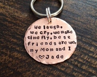 Mom Keychain Mommy Keychain Handstamped Keychain Personalized Keychain Copper Keychain  Mothers Day Quote Keychain Gift for Mom