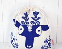 Organic Cotton Gift Bag Bread Bag Screen printed Hungarian Skandinavian Kalotaszeg Boy Deer Folk Pattern - Blue