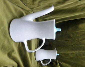 "60s Poole Twintone Coffee Pot and Lidded Milk Jug Pair in Seagull and Sky Blue. 22 cms (8.5"") and 19 cms (7.5"") Ex Cond"