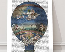 Machine Aerostatique Hot Air Balloon Print - French print, french art print french artwork french decor french country decor french style