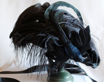 Gothic Tricorn Hat,The Raven Mini Tricorn Hat,Baroque Black Mini Tricorn-Custom-Made to Order