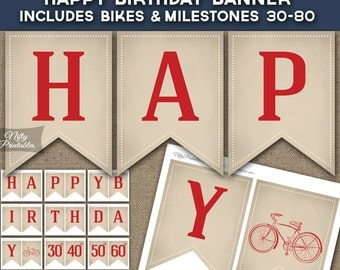 Bicycle Banner - Printable Bicycles Birthday Banner - Vintage Bicycle Birthday Party Decorations - Bike Cycling Birthday Banner VCY