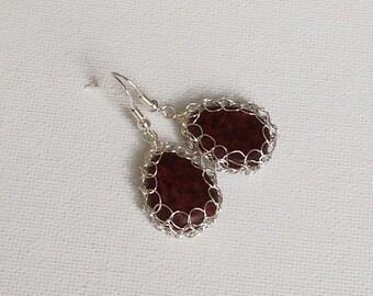 Crochet wire earrings.Knitted brown earrings.Gem stone Sterling silver earrings.Jasper Romantic Vintage style Dainty earrings Wire crochet