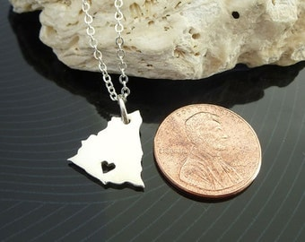 Tiny Sterling Silver Nicaragua Necklace / Custom Heart / Small NicaraguaNecklace / Love Nicaragua / Country Necklace