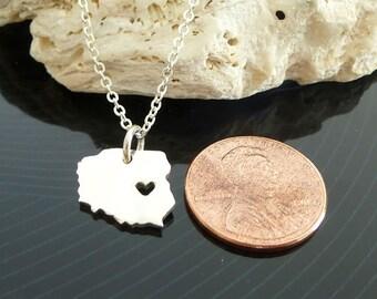 Tiny Sterling Silver Poland Necklace / Custom Heart / Small Poland Necklace / Love Poland / Country Necklace
