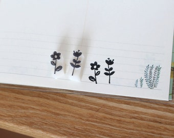 Flowers rubber stamp set of two. Nature stamp. Floral stamp. Hand carved stamp. Handmade stamp. Unmounted stamp. Cute stamp.