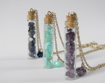 Semi-precious stones phial necklace - gemstone - natural stones - unique pieces