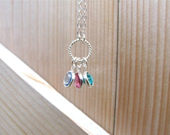 Family Birthstone Necklace, SIlver Birthstone Necklace, Family Charm Necklace,