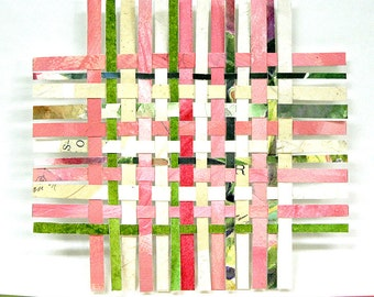Pink Green Paper Weaving- Handwoven Art- Collage, Watercolor- Small Art- 5x5