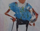 Duck Tales Pet Blot Figure Man Grandpa Gentleman Senior Character Design Original Acrylic Art Painting Lerew impressionist water media beard