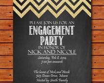 Printable engagement invitation, Engagement Party invitation, custom chalkboard invite, Golden glitter chevron