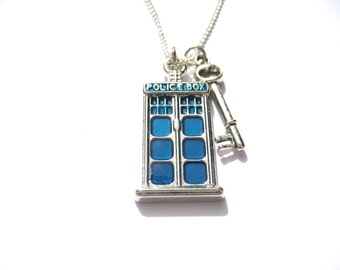 Police Box Necklace With Key Tardis Jewelry  Doctor Who Necklace Whovian Gifts Under 20 Tardis Key Necklace Police Box Necklace
