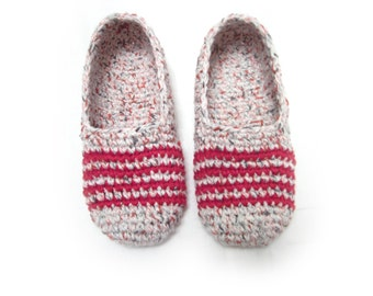 light melange crochet slippers with strips, woman house slippers, crochet shoes, home clothing, friend gift, size 5 6 7 8 9 10 11 12