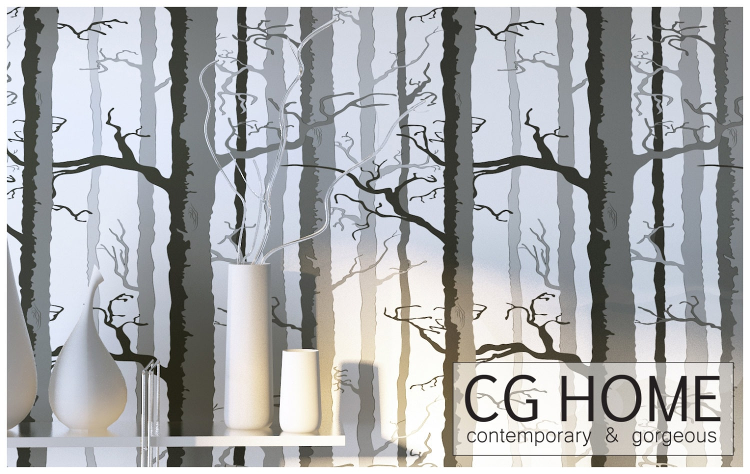 wood wallpaper foggy tree peel and stick removable by cghome. Black Bedroom Furniture Sets. Home Design Ideas