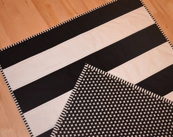 Black and White Striped Quilt / Plus Quilt