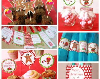 Christmas Decorations - Christmas Party Printables - Christmas Downloads - Christmas Printables - Christmas in July (Instant Download)