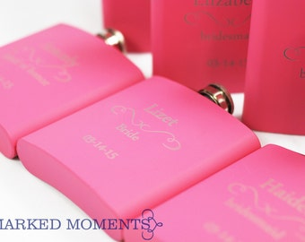 4 Personalized Bridesmaid flasks, Four pink Engraved Flasks 6oz for bridesmaids, bachelorette, Hip Flask SET OF 4 - CLASSIC