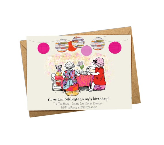 "Digital Birthday invitation. Custom Children's Party Invitation ""Time For Tea"""