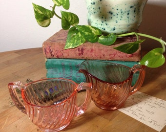 Glass Creamer & Sugar Bowl Set