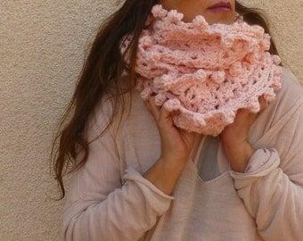 Shabby Chic Pink Infinity Neckwarmer. Crochet Cozzy Cowl. Wool Neckwarmer