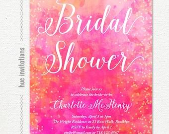 artsy watercolor bridal shower invitation, bright pink coral bridal shower invite, geometric modern watercolor bridal shower invite, 203