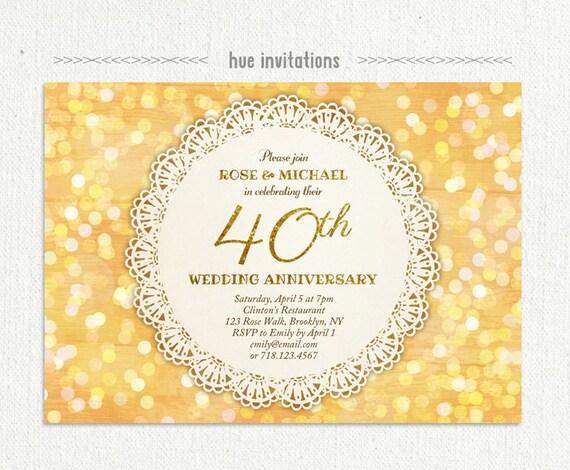 40. hochzeitstag party einladung glam gold glitter konfetti, Einladung